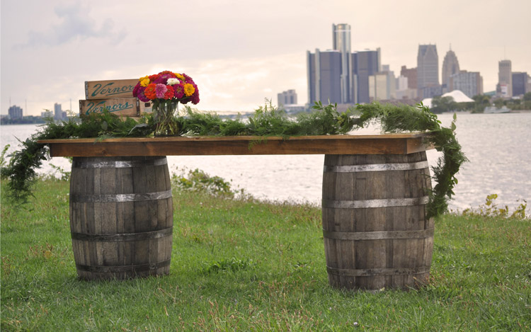 Detroit Chiavari Belle Isle Wedding Whiskey Barrel Bar 1