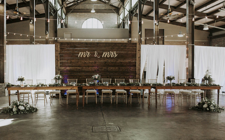 Detroit Chiavari Farm Table Wedding Wood Backdrop Wall